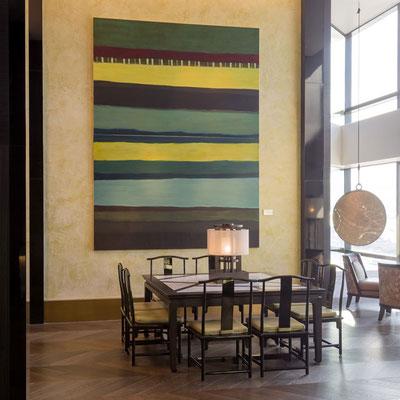 Monika Humm Indian Summer 14,  Ölmalerei auf Leinwand, 320 x 240 cm, Grand Hyatt, Hong Kong, Ankauf 2015