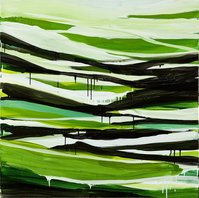 Monika Humm Going on 68, 2013, Acrylmalerei auf Leinwand, 100x100x2cm