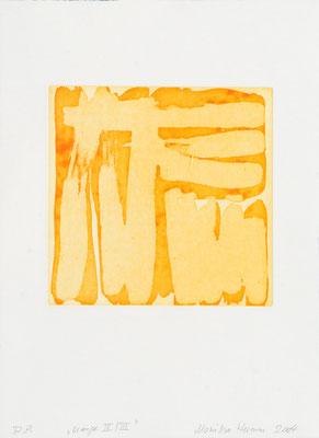 Monika Humm Aquatinta orange V-III, 2004, PG 19,5x20, Bütten39x28,5cm