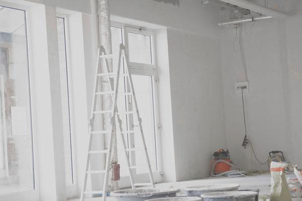 verputzte und begradigte Wände