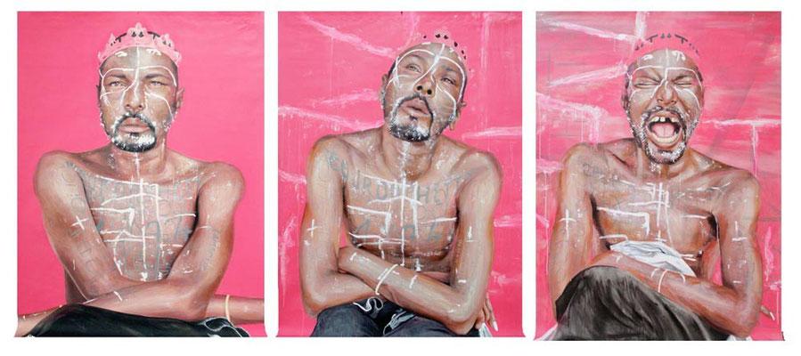 «Jack Le Fou» Triptyque (1m20 x 1m70) x 3, Acrylique sur toile, 2015