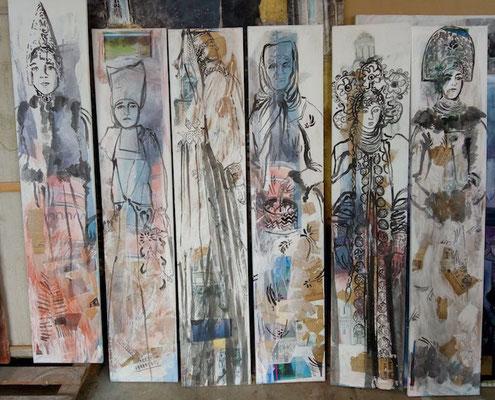 Les âmes, 30 x 150 cm, technique mixte sur toile