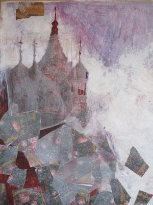 """""""Le feu de la Place Rouge"""", 2017, collage papiers, pigments, cendre, acrylique, vinyle, sanguine, graphite sur toile."""