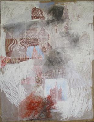 """"""" Le feu de la Place Rouge"""" 150 x 200 cm, 2017, collage papiers, pigments, cendre, acrylique, vinyle, sanguine, graphite sur toile de jute"""