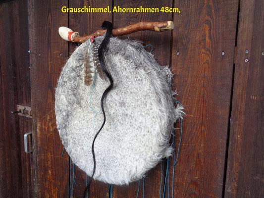 Trommel: Pferd, 48cm, Ahornrahmen, Verspannung mit Flachs-Seil (Schnellspannsystem.