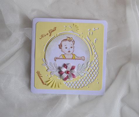 "Glückwunschkarte  ""It´s a Girl"" Welcome gelb-pink"