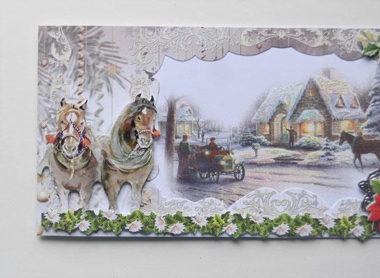 Weihnachtskarte. Pferde und Weihnachtsstern.