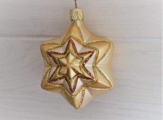 Chistbaumkugel in Sternform aus Glas in creme-gold-bronze