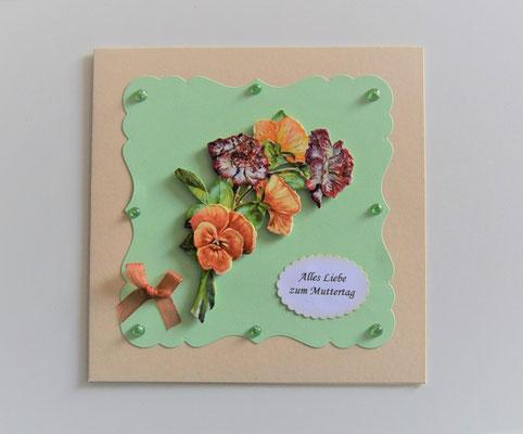"""""""Alles Liebe"""" beige-grün mit 3-D Motiv """"Blumenstrauß"""""""