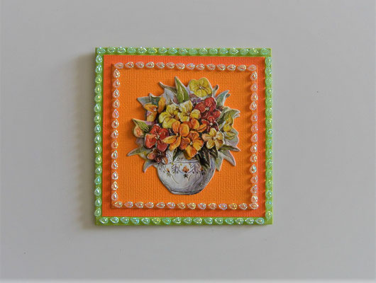 """Glückwunschkarte """"Vase mit Blumenstrauß"""" grün-orange"""
