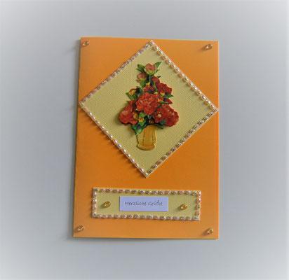 Herzlich Grüße mit 3 D Motiv orange-gelb