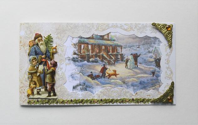 Weihnachtskarte. Nikolaus mit Kindern.
