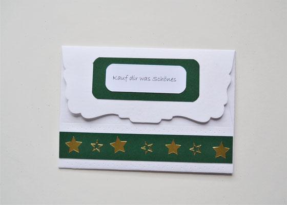 """Kuvert weiß-grün-gold mit Motiv """"Päckchen und Frohes Fest"""""""