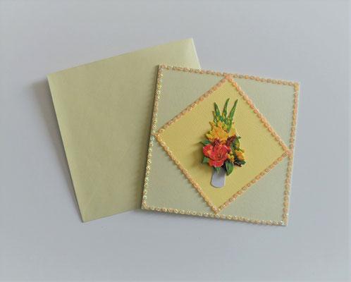 Glückwunschkarte gelb mit 3 D Motiv Vase mit Blumenstrauß