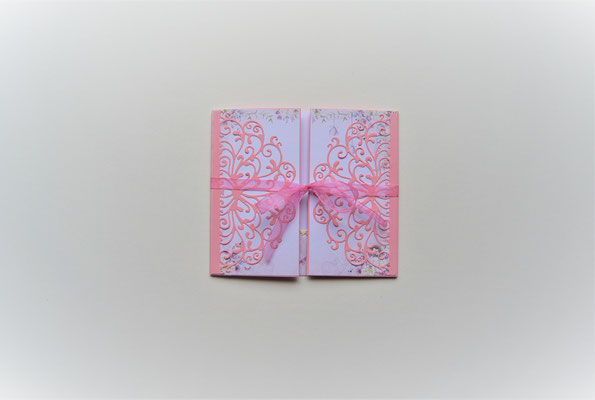 "Aufwendig hergestellte Klappkarte ""Danke"" rosa-lila"