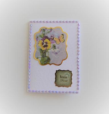 """Glückwunschkarte """"Besten Dank"""" mit Stiefmutter Blumen"""