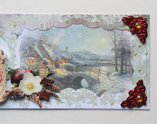 Weihnachtskarte. Nikolaus mit Geschenken.