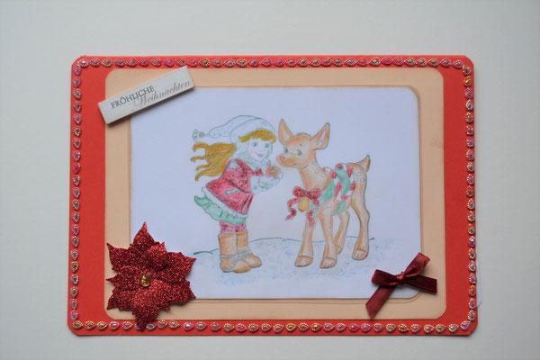 """""""Fröhliche Weihnachten"""" Mädchen mit Reh rot-beige"""