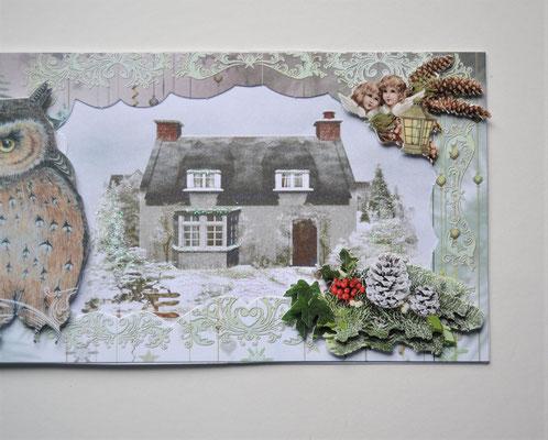 Weihnachtskarte. Eule vorm Haus