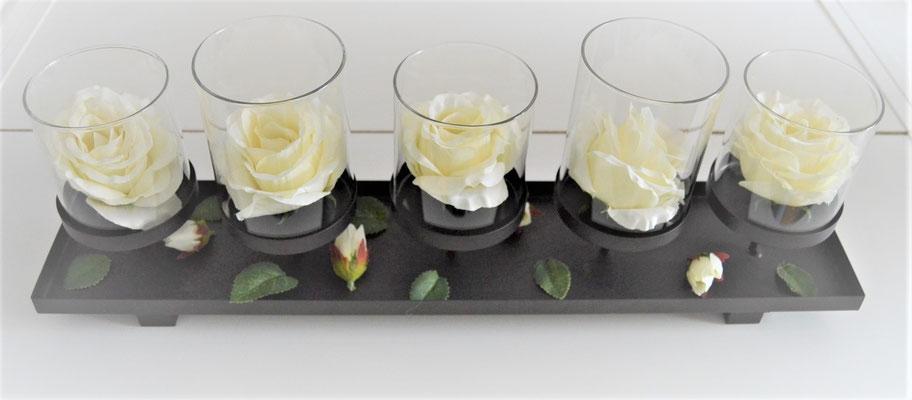 Tischdekoration für Blumen oder Kerzen Metall/Glas