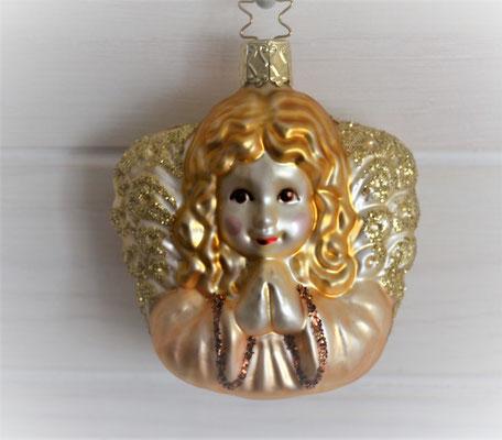 Christbaumkugel aus Glas Engelskopf creme-gold