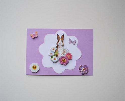 Osterkarte Hase mit 3D Motiv und Schmucksteinen weiß-flieder
