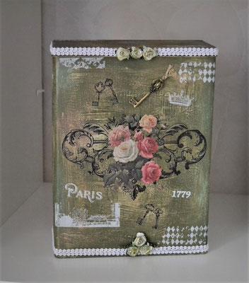 Nostalgiedose mit Rosen grün-weiß