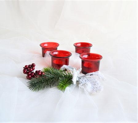 4 Teelichtgläser rot incl. 4 Teelichter