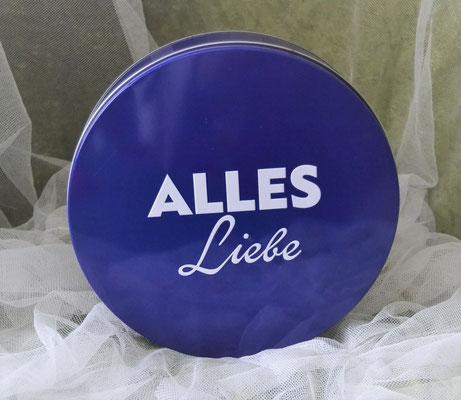 """Runde blaue Dose mit der Aufschrift """"Alles Liebe"""""""