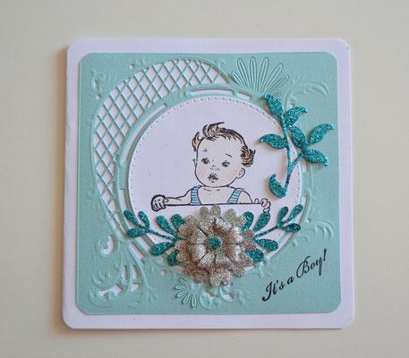 Glückwunschkarte Baby türkis-silber