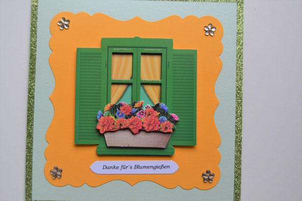 """Glückwunschkarte grün-orange """"Danke für´s Blumengießen"""""""