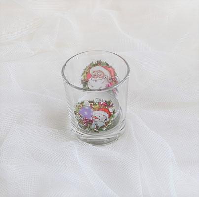 4 Teelichtgläser mit transparent Stickern