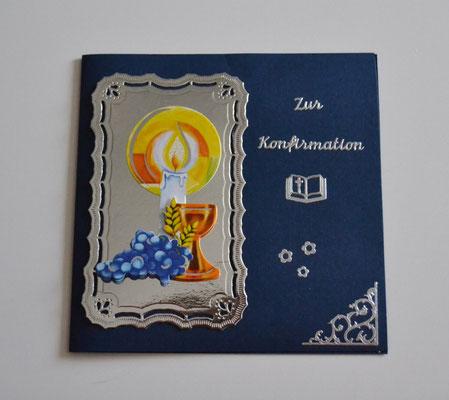 Glückwunschkarte zur Konfirmation blau-silber