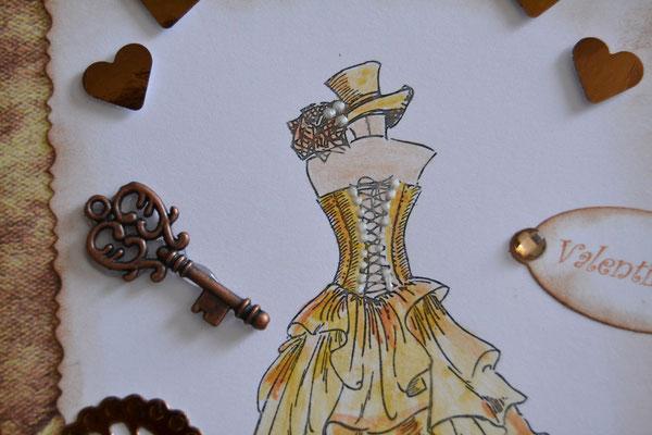 Valentinstagkarte Steampunk braun-beige