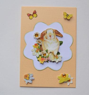 Osterkarte Hase mit 3D Motiv und Schmucksteinen weiß-beige
