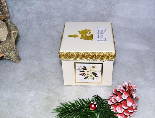 Weihnachtswürfelbox beige-gold