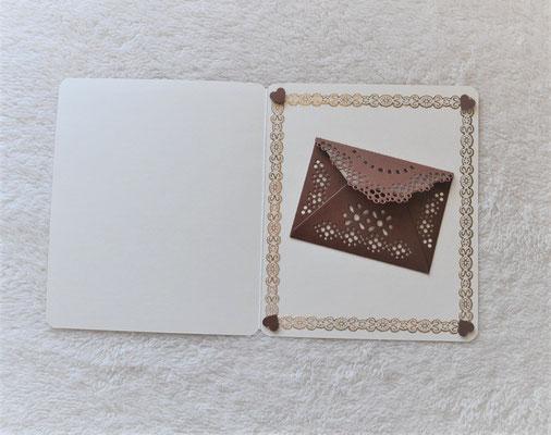 Hochzeitskarte Herzliche Glückwünsche in braun-beige mit Strasssteinen