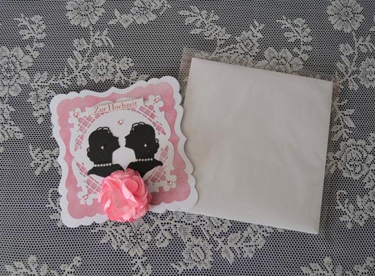 Geschenkbox mit Karte zur Hochzeit für zwei Frauen