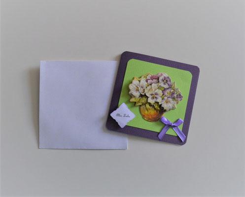 """Kleine Glückwunschkarte """"Alles Liebe"""" lila-grün"""