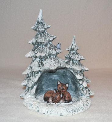 Tannenbaum mit Füchsen aus Keramik