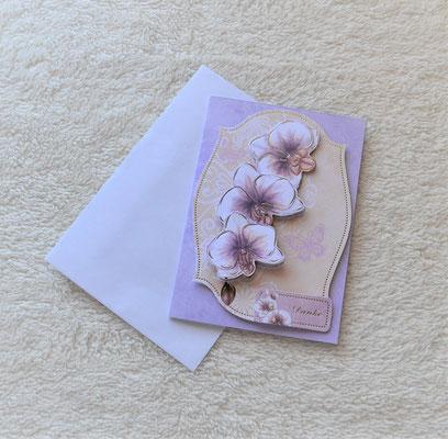 "Glückwunschkarte ""Danke"" lila mit Blumen"