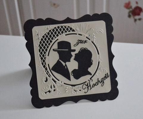 Hochzeitskarte creme-schwarz