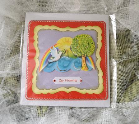Glückwunschkarte zur Firmung rot-gelb-lila Fi06