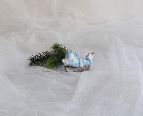 Nikolaus auf Schlitten hellblau-weiß