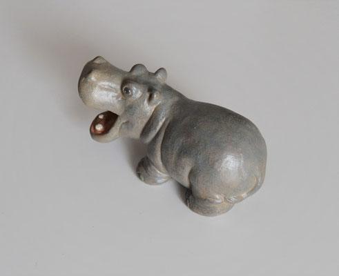 Nilpferd stehend aus Keramik Handbemalt