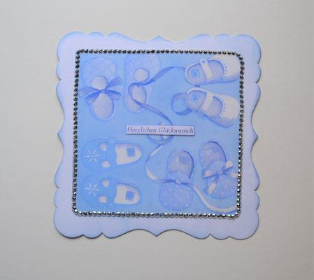 """Babykarte blau """"Herzlichen Glückwunsch"""""""