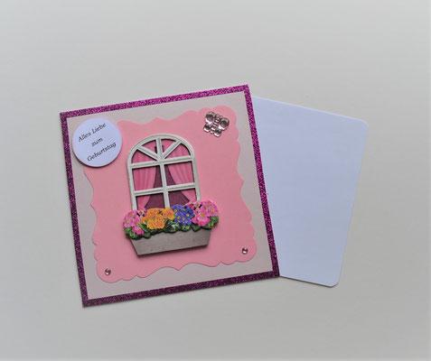 """Glückwunschkarte creme-rosa-pink """"Alles Liebe zum Geburtstag"""""""