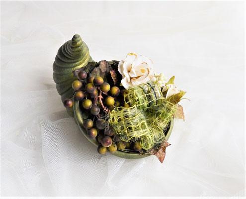 Herbstgesteck Füllhorn aus Keramik