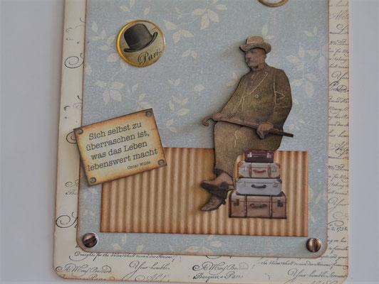 Mann auf Koffer mit Spruch