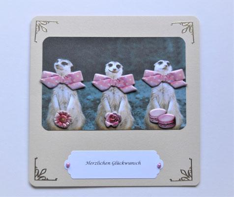 """""""Herzlichen Glückwunsch"""" in creme-rosa"""